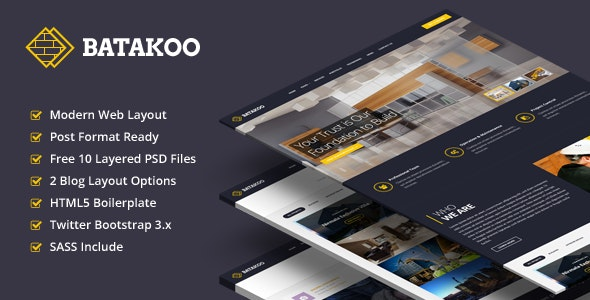 BATAKOO - Modern Construction Business Template - Corporate Site Templates