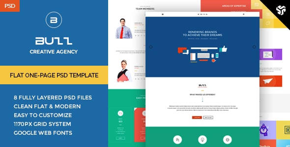 Buzz - Flat OnePage PSD Template - Photoshop UI Templates