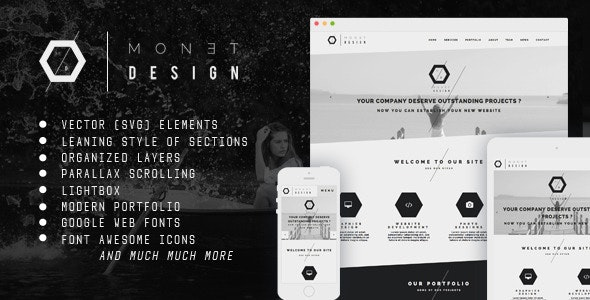 Monet - One Page Modern Muse Template - Corporate Muse Templates