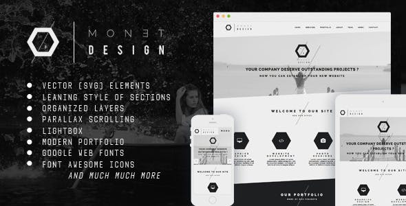 Monet - One Page Modern Muse Template