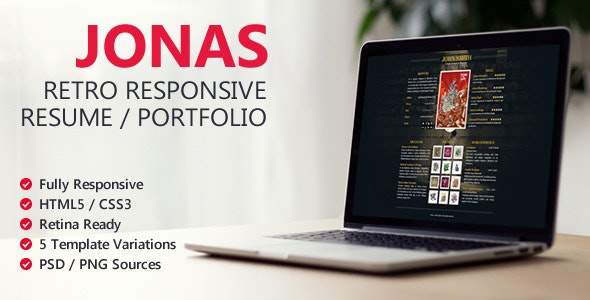 Jonas - Retro Responsive Resume / Portfolio - Virtual Business Card Personal