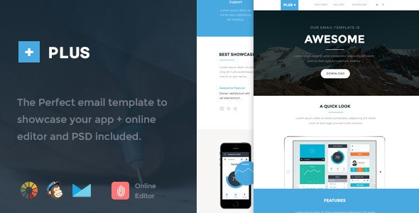 Plus - Responsive Email Template + Online Editor - Newsletters Email Templates
