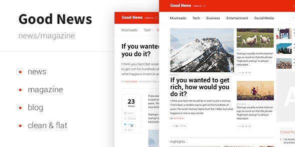 Good News — News & Magazine Template - Entertainment Site Templates