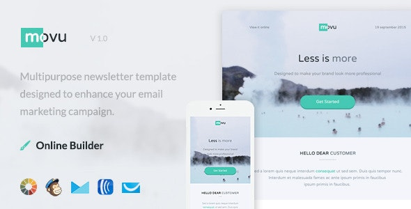 Movu - Modern Email Template + Themebuilder Access - Newsletters Email Templates