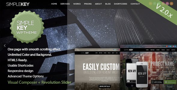 SimpleKey - One Page Portfolio WordPress Theme