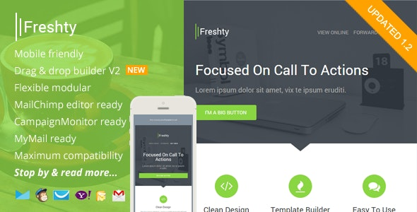 Freshty, Fresh Responsive Email with Theme Builder - Email Templates Marketing