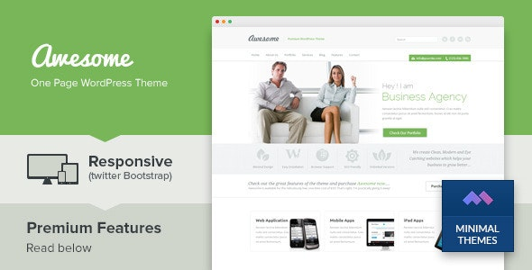 Awesome - One Page Business Portfolio WordPress Theme - Business Corporate