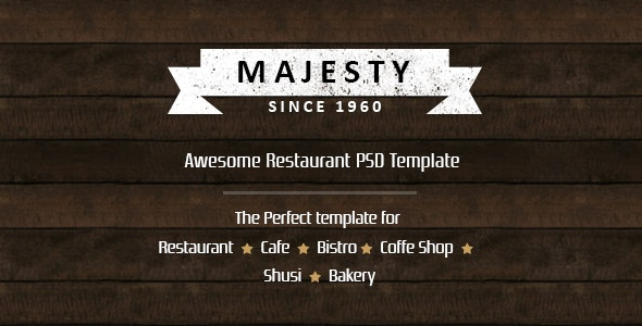 Majesty - Awesome Restaurant PSD Template - Food Retail