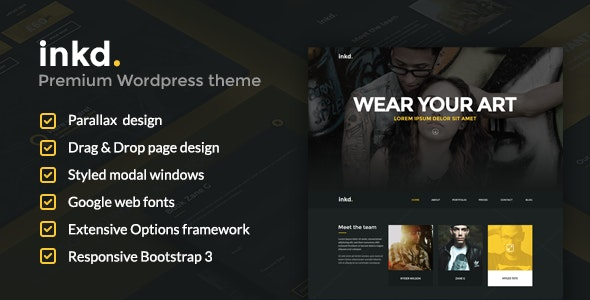Inkd. Tattoo Studio One-Page Wordpress Theme - Art Creative