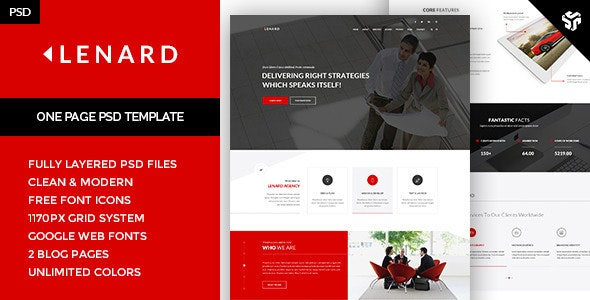 Lenard - One Page Template - Photoshop UI Templates