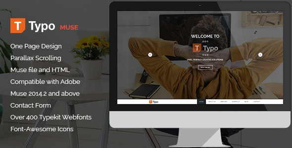 Typo - One Page MUSE Template - Creative Muse Templates