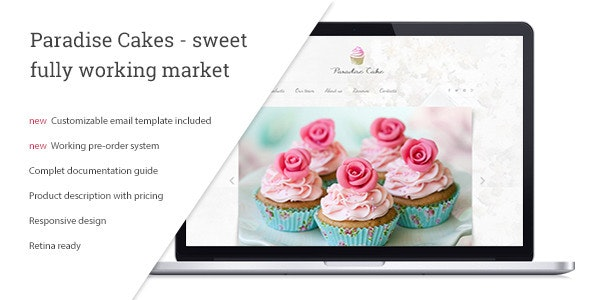 Paradise Cakes - Sweet eCommerce Landing Page - Food Retail