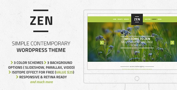 Zen – Responsive Multi-Purpose OnePage WordPress Theme - Creative WordPress