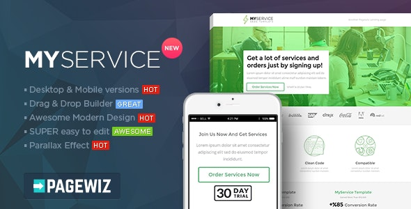 MYSERVICE - SaaS Product Pagewiz Landing Page Template - Pagewiz Marketing