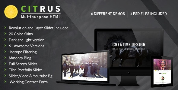 Citrus - OnePage Parallax HTML Portfolio - Corporate Site Templates
