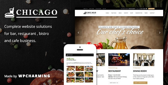 Chicago - Restaurant & Cafe WordPress Theme - Restaurants & Cafes Entertainment