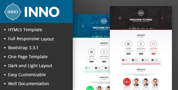 INNO-Responsive One Page HTML5 Template - Corporate Site Templates