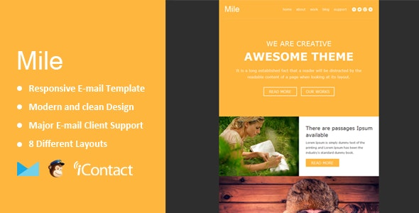 Mile - Responsive E-mail Template + Themebuilder Access  - Email Templates Marketing