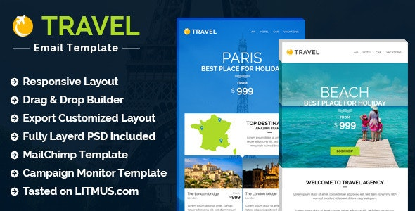 Travel/Hotel E-newsletter + Builder Access - Email Templates Marketing