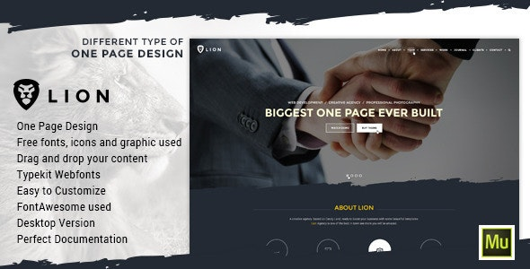 Lion - One Page Parallax Muse Template - Creative Muse Templates