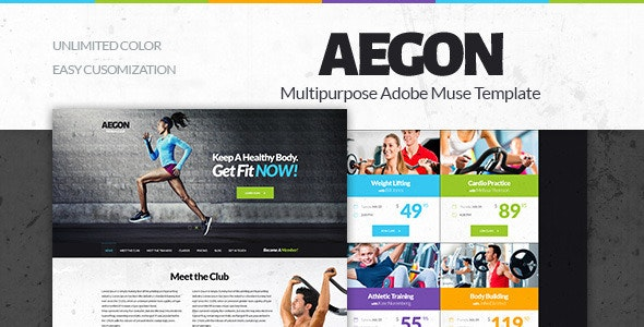 Aegon -  Gym/Fitness Club Adobe Muse Template - Corporate Muse Templates
