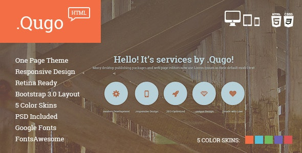 Qugo - One Page Multi Purpose Modern HTML Template - Corporate Site Templates