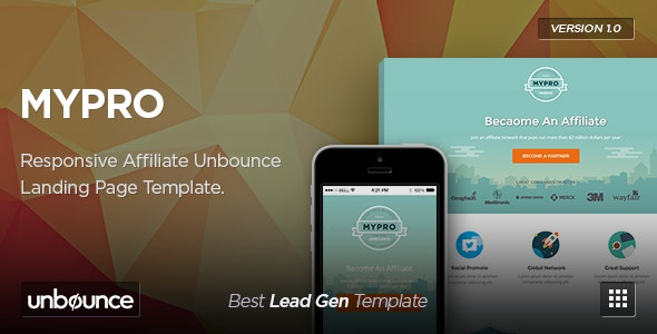 MyPro - Affiliate Unbounce Landing Page Template - Unbounce Landing Pages Marketing