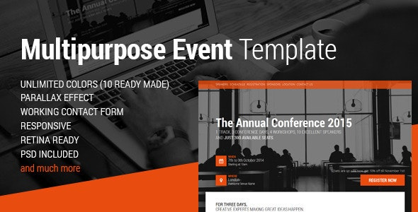 Event & Conference HTML5 Template Landing Page - Events Entertainment