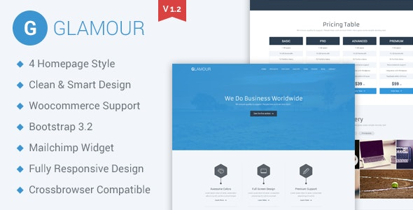 Glamour Responsive Parallax WP Business Template - Business Corporate