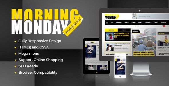 Monday Morning Magazine HTML5 template - Corporate Site Templates