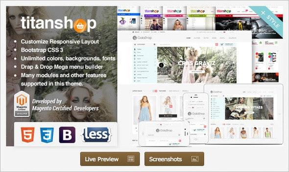Responsive Magento Theme - Gala TitanShop - Shopping Magento
