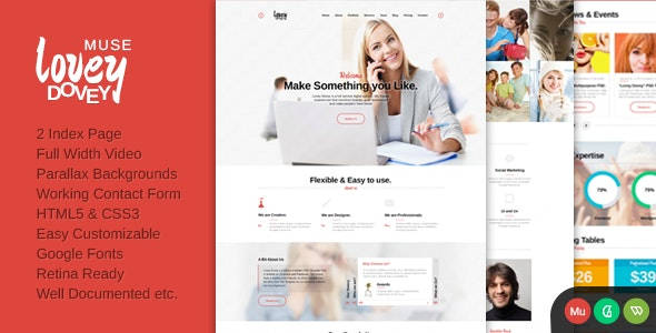Lovey Dovey One Page Parallax Muse Template - Muse Templates