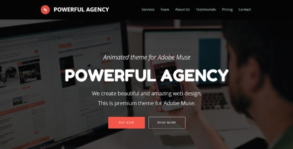 Powerful Agency - Animated Adobe Muse Template - Creative Muse Templates