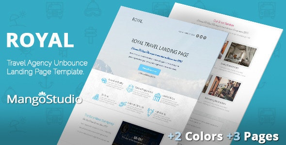 ROYAL - Travel Agency Unbounce Template - Unbounce Landing Pages Marketing