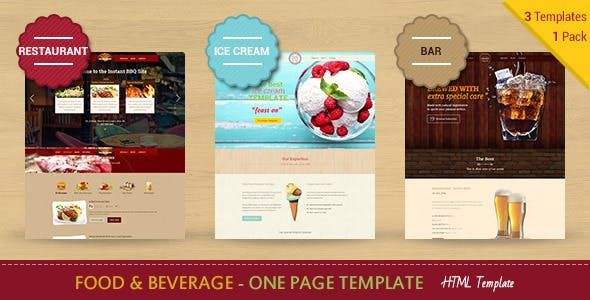 Food & Beverage Company One Page HTML