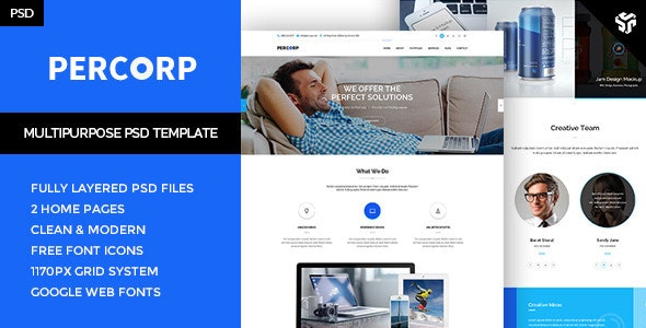 PerCorp - Multi-Purpose PSD Template - Business Corporate