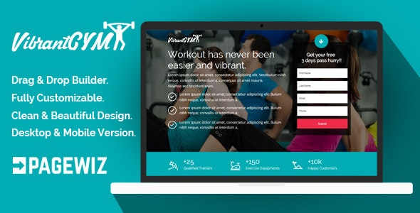 VibrantGYM - Pagewiz Landing Page Template - Pagewiz Marketing