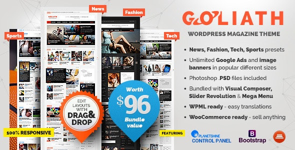 Goliath - Ads Optimized News & Reviews Magazine - News / Editorial Blog / Magazine