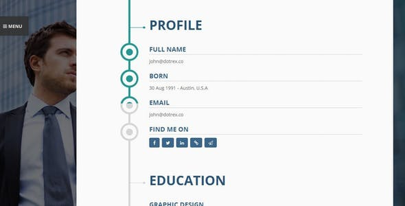 Vertica - Resume / CV & Portfolio WordPress Theme