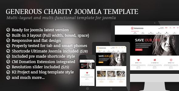 Generous - Charity / Non-Profit / Orphan / Fund-raising / Crowd-funding Joomla Template - Charity Nonprofit