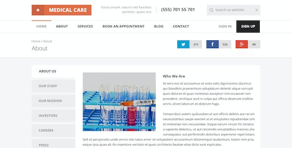 Medical Care - Responsive HTML5 Template