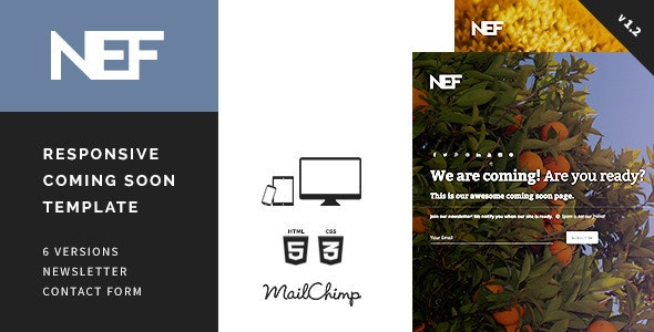 Nef - Responsive Coming Soon Template - Under Construction Specialty Pages
