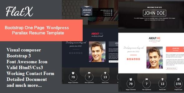 FlatX - Bootstrap Onepage Parallax Resume Template - Personal Blog / Magazine