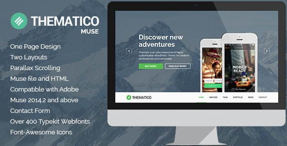 Thematico - One Page MUSE Template - Creative Muse Templates