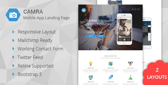 Camra - Mobile App Landing Page + Coming Soon - Landing Pages Marketing