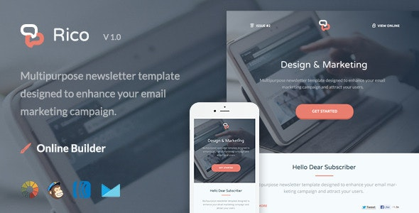Rico - Modern Email Template + Themebuilder Access - Newsletters Email Templates