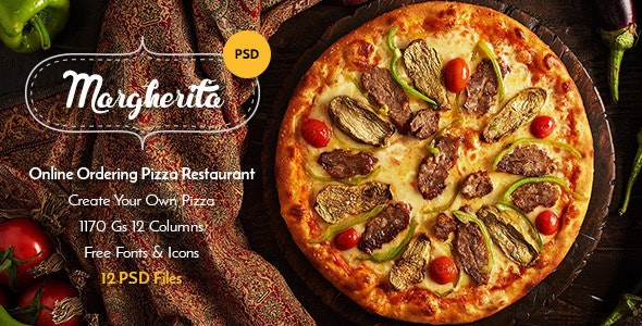 Margherita - Online Ordering Pizza Restaurant PSD - Food Retail