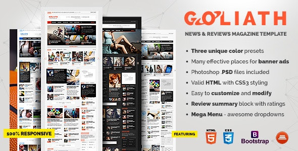 GOLIATH - News & Reviews Magazine Template - Entertainment Site Templates