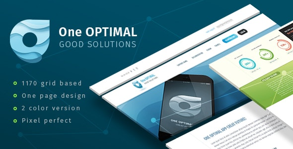 ONE OPTIMAL - One Page design for APP - Creative Photoshop