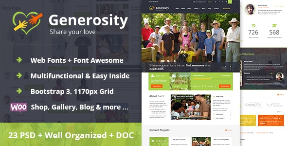 Generosity - Charity/Nonprofit PSD Template - Charity Nonprofit